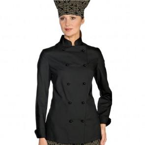 Veste de cuisine femme Ultra Légère noire Isacco Exra Light