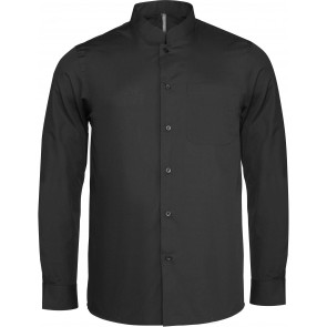 Chemise de travail col mao manches longues Kariban Noir