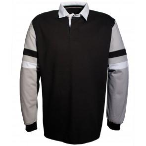 Polo rugby manches rayées Kariban 100% coton Bleu marine/gris