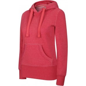 Sweat-shirt à capuche femme Kariban mélange Rouge