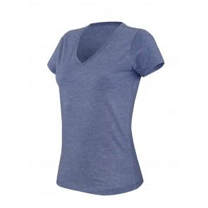 T-shirt de travail col V manches courtes femme Kariban mélange Bleu Foncé