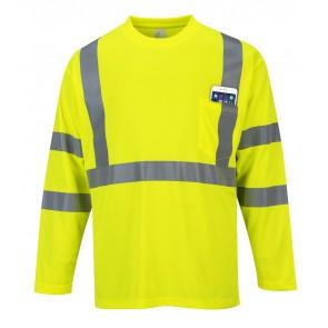 Tee Shirt Haute Visibilité Manches Longues Portwest avec poche jaune poche