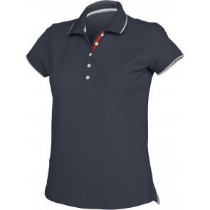 Polo maille piqué femme Kariban 100% coton Bleu marine / Blanc