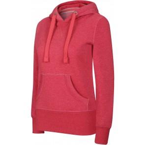 Sweat-shirt à capuche femme Kariban mélange Rouge