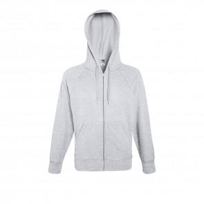 Sweat-shirt léger à capuche zippé Fruit Of The Loom Lightweight Hooded gris