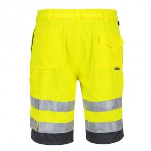Bermuda haute visibilité HiVis Poly-coton Portwest jaune/Gris