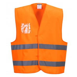 Gilet haute visibilité avec porte-badge double entrée Portwest Vest-Port Orange