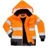 Blouson haute visibilité 3 en 1 Portwest manches amovibles bicolore Orange / Marine 3