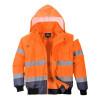 Blouson haute visibilité 3 en 1 Portwest manches amovibles bicolore - Orange / Marine