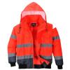 Blouson haute visibilité bicolore 3 en 1 manches amovibles Portwest rouge marine capuche