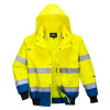 Blouson haute visibilité bicolore 3 en 1 manches amovibles Portwest jaune royal capuche