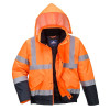 Blouson Haute Visibilité imperméable Portwest matelassé classe 3 - Orange / Marine
