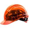 Casque de chantier translucide ventilé Portwest Peak View à crémaillère - Orange