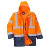 Parka 5 en 1 imperméable haute visibilité Portwest ESSENTIEL - Orange / Marine