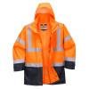 Parka bicolore 5-en-1 Portwest EXECUTIVE - Parka bicolore 5-en-1 Portwest Executive Orange / Marine capuche relevée