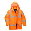 Parka de travail Haute visibilité Portwest Traffic Orange à capuche avant