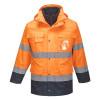 Parka haute visibilité imperméable Portwest 3 en 1 bicolore Orange / Marine Détail