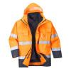 Parka haute visibilité imperméable Portwest 3 en 1 bicolore Orange / Marine Détail 2