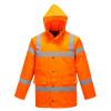 Parka haute visibilité matelassée Portwest traffic - Parka haute visibilité matelassée Portwest Traffic Orange Capuche Relevée