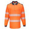 Polo de travail manches longues haute visibilité Portwest PW3 - Orange / Navy