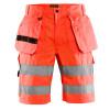Short de travail haute visibilité Blaklader multipoches Polycoton - Rouge Fluo