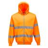 Sweat shirt zip central à capuche haute visibilité Portwest - Orange