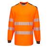 T-Shirt de travail manches longues haute visibilité bicolore Portwest PW3 - Orange / Noir