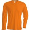 Tee-shirt de travail col V manches longues Kariban 100% coton Orange