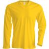Tee-shirt de travail col V manches longues Kariban 100% coton Jaune