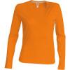 Tee-shirt de travail col V manches longues Kariban femme 100% coton Orange
