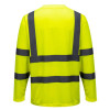 Tee-shirt haute visibilité Portwest manches longues Jaune Dos