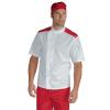 Veste de cuisine Blanche épaules rouges Isacco Malaga manches courtes - Veste de cuisine Blanche et rouge Malaga Isacco