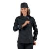 Veste de cuisine zippée femme manches longues Isacco noire liseré blanc - Noir