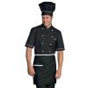 Veste de cuisine noir et blanche extra light Isacco manches courtes - Veste de cuisine noir et blanche manches 1/2 Isacco