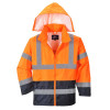 Veste de pluie haute visibilité Portwest bicolore - Orange / Marine - Capuche