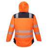 Veste de pluie haute visibilité Portwest VISION - Veste de pluie haute visibilité Portwest Vision Orange / Noir Capuche Relevée 2