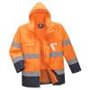 Parka haute visibilité imperméable Portwest 3 en 1 bicolore Orange / Marine Capuche Relevée